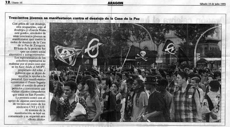 Manifestación contra el desalojo