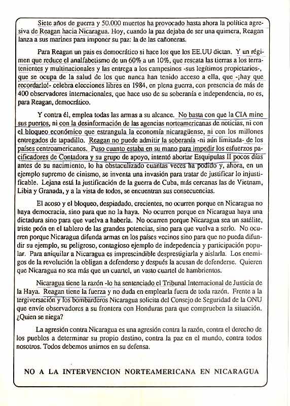 Por la paz en Centroamérica