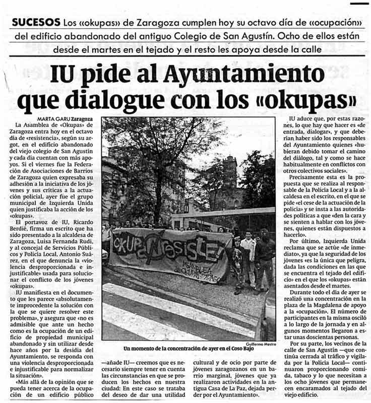 IU pide al ayuntamiento que dialogue