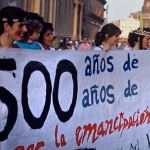 Manifestación contra la celebración del V Centenario